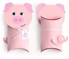 Gift Wrapping Inspiration : Toilet Paper Pig Pillow box gift for kids Toilet Roll Craft, Toilet Paper Roll Crafts, Pig Crafts, Preschool Crafts, Valentine Box, Valentine Crafts, Animal Crafts For Kids, Pig Party, Pillow Box