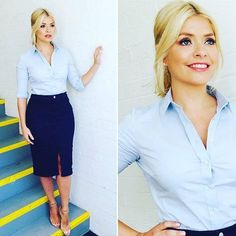 Blue shirt, blue pencil skirt with front split. https://www.fanprint.com/stores/sunny-in-philadel?ref=5750