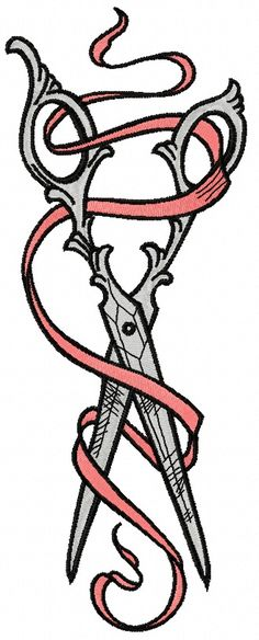 Vintage scissors and ribbon 2 machine embroidery design. Machine embroidery design. www.embroideres.com