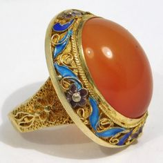 Gorgeous Large Carnelian Chinese Enamel Filigree Cloisonne Ring : The Jewel Collection | Ruby Lane Nail Guards, Victorian Jewelry, Ruby Lane, Carnelian, Filigree, Vintage Designs, Fine Jewelry, Gemstone Rings, Jewelry Design