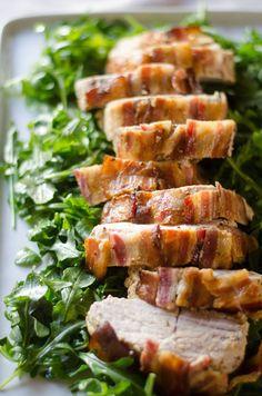Honey-Mustard Pork Roast with Bacon - Giadzy | The perfect non-turkey dish for Thanksgiving | @gdelaurentiis