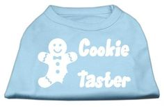 """Mirage Pet Dog Cat Gift Apparel Poly Cotton Sleeveless 14"""""""""""""""" Cookie Taster Screen Print Shirt Large Baby Blue"""