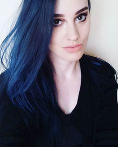 Dark blue long hair #overtonecolor #overtone #extremeblue