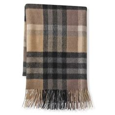 The visual playfulness of plaid pairs nicely with the softness of cashmere in this accent throw!