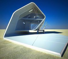 Sustainable Prefab California Roll House for Desert Environment. A stylish sustainable design of prefab house was designed by Christopher Daniel. It was specially design to adapt with desert environment with harsh living condition. Futuristic Architecture, Amazing Architecture, Interior Architecture, Interior And Exterior, Folding Architecture, Interior Design, Futuristic Home, Futuristic Technology, Futuristic Design