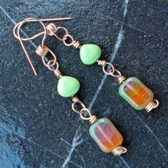Czech Glass Lime Turquoise Earrings Bronze by PraytorProject, $20.00