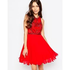 Forever Unique Charity Skater Dress With Embroidered Bodice ($165) ❤ liked on Polyvore featuring dresses, red, fit flare dress, red cocktail dress, fit and flare cocktail dress, embroidered dresses and embellished dress