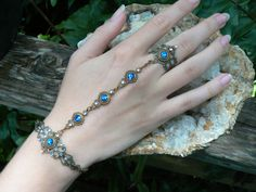 Blue slave bracelet Swarovski hand chain hand flower slave ring bohemian Mothers day victorian moon goddess pagan boho gypsy style