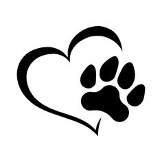 Dog Love Decal - Dog Heart Decal - Dog Pawprint Decal - Vinyl Decal for Walls - Window decal - Car D