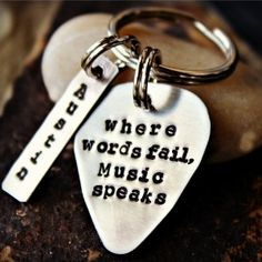 Where Words Fail Music Speaks from Hans Christian Andersen-hans christian andersen, hans christian anderson, guitar pick, silver guitar pick, handstamped guitar pick, guitar pick keychain, guitar pick keyring, famous quote jewelry, music lover gift, personalized, personalised, custom, rock and roll