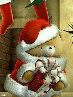 Merry Christmas Gif, Hello Kitty Christmas, Christmas Teddy Bear, Christmas Scenes, Christmas Images, Christmas Art, Christmas Greetings, All Things Christmas, Animiertes Gif