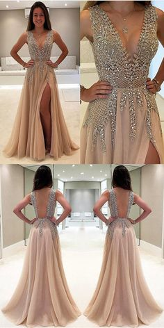 Unique Prom Dresses, A-Line V-Neck Sleeveless Charming Tulle Side Split Prom Dresses with Beads and Sweep Train, There are long prom gowns and knee-length 2020 prom dresses in this collection that create an elegant and glamorous look Split Prom Dresses, Backless Prom Dresses, Tulle Prom Dress, Modest Dresses, Homecoming Dresses, Sexy Dresses, Long Dresses, Nude Prom Dresses, Champagne Prom Dresses