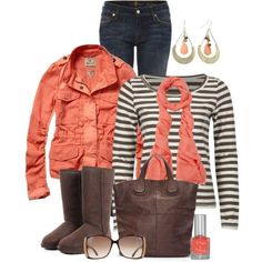 """""""Coral and brown"""" by peridotpixie on Polyvore"""