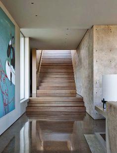 Wide staircase  Modern Hillside House-Lake Flato Architects-04-1 Kindesign