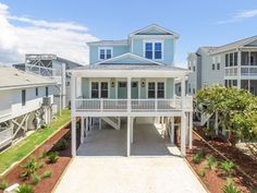 Sunset Beach custom home built by Ocean Isle Beach builder Carolina Bluewater Construction Beach House Floor Plans, Coastal House Plans, Southern House Plans, Cottage House Plans, Craftsman House Plans, Country House Plans, Cottage Homes, Stilt House Plans, House On Stilts