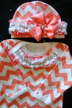 NEWBORN baby girl take home gown outfit beanie CHEVRON salmon pink peach orange ruffles rhinestone bling baby diva on Etsy, $42.50