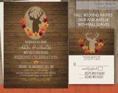 Deer Wedding Invitations | Rustic Fall Wedding Invitations on Wood Grain | Deer and Antlers with Fall leaves