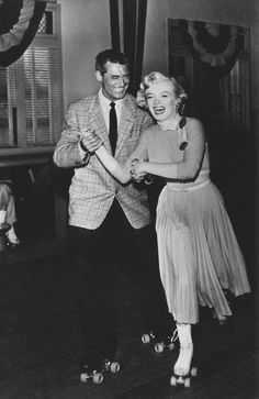 Cary Grant and Marilyn Monroe, 1952_MonkeyBusiness_Dressed_YellowDress_052_skate_010 …