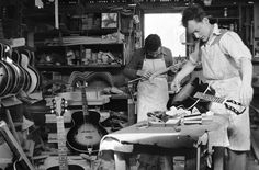Maton Guitars workshop, back in the day.