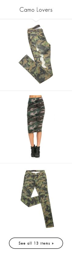 """Camo Lovers"" by anladia on Polyvore featuring jeans, destructed skinny jeans, destroyed denim skinny jeans, denim skinny jeans, torn skinny jeans, destroyed jeans, skirts, military fashion, cotton pencil skirt and white cotton skirt"