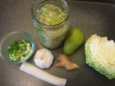 KIMCHI! Good for digestion and an add in to many recipes. 1/2 Asian pear, ginger, 4 garlic, 1/2 daikon, scallions and cabbage.Ma Ma!