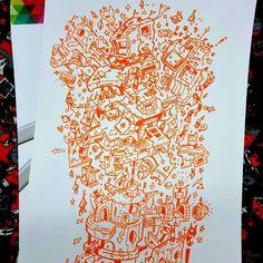 Scribble, Dune, Markers, Original Artwork, Digital Art, Sketch, Warm, Artist, Poster