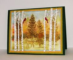 """Handcrafted Greeting Card, """"The North Woods"""", 7"""" x 5 1/2"""". I used Ranger, Tim Holtz Distress Inks and a Sponge Dauber to do all color on card. Stamp used is from Stampin Up, Lovely As a Tree, Dies used are from Impression Obsession, Birch Tree and Memory Box, Deer Trio. Cardstock is from Papertrey Ink."""