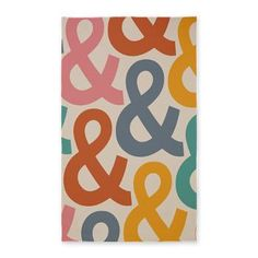 Colorful Ampersands 3'x5' Area Rug - cool home decor for the typography lover.