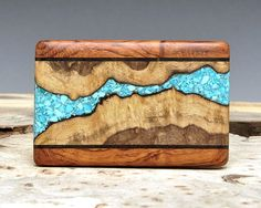 wood inlaid with turquoise | Exotic Wood & Turquoise Inlaid Belt Buckle by ShandsDesign | Art