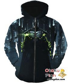 Batman Batman Arkham Knight Neon Suit Lights Zip Up Hoodie - Batman 3D Zip Up Hoodies And Clothing