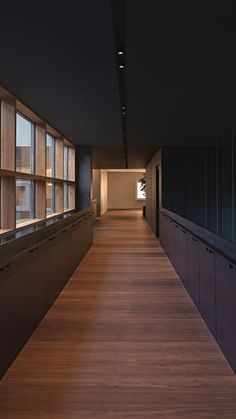 A woman-designed wooden corridor leads the way to architectural progress in the auspices of a corporate building. Light Of Life, Commercial Design, Corporate Design, Building Design, Beams, Stairs, Design Inspiration, Pure Products, Interior Design
