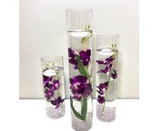 Submersible White Star Flower Floral Wedding Centerpiece with Floating Candles and Acrylic Crystals Kit Floating Flower Centerpieces, Lavender Wedding Centerpieces, Green Wedding Decorations, Floating Candles Wedding, Purple Table Decorations, Diy Wedding Flower Centerpieces, Purple And Silver Wedding, Burgundy Wedding, Floral Wedding