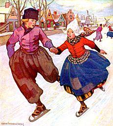 art of dutch children | Dutch children ice skating, vintage illustration