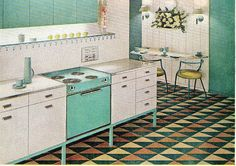 Absolutely lovely white and aqua General Electric Built-Ins, 1960. #vintage #1960s #kitchen #appliances