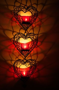 Hanging Heart Candle Holders