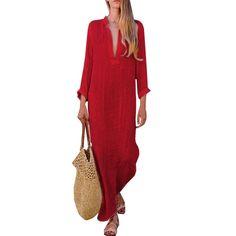 959773eaa9 Loose V-neck Solid Color Women Long Split Loose Dress