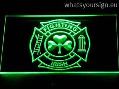 Fire Department Shamrock - LED neon sign light display made of the first-class quality clear acrylic and glowing colorful LED glow. The neon sign displays exactly the same from all angles thanks to the carving with the modern 3D laser engraving process. This LED neon sign is a great gift idea! The neon is provided with a metal chain for displaying. Available in 3 sizes in following colours: Orange, Green, Blue, Yellow, White, Red and Purple!