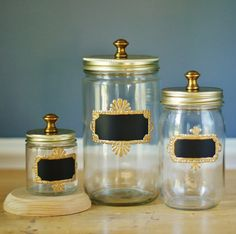 Set of Three Mason Jar Storage Canisters for Kitchen, with Chalkboard Labels with Gold Frames on Wanelo