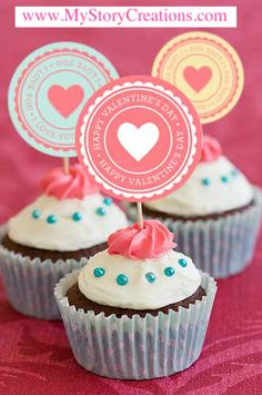 """If you'll be whipping up a batch or two of Valentine's cupcakes, why not whip up some adorable cupcake toppers to go with them? This cute template is a 12 x 12 Scrap Page, """"Valentine's Cupcake Toppers""""  template 102015. Just cut out the circles with either your scissors or a 2-inch paper punch. Then tape each one to a toothpick, skewer, or lollipop stick and insert into a baked and decorated cupcake. These would also make cute tags to attach to small gifts.  www.MyStoryCreations.com"""