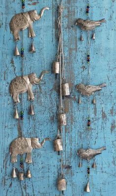 Elephants, Goat Bells And Birds Wind Chimes Mobiles, Art Populaire, Deco Boheme, Elephant Love, Love Blue, Blue Green, Ring My Bell, Suncatchers, Shades Of Blue