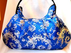 eb404bccb771 Asian Fabric Bag Purse Handbag Hobo Bag Zipper Shoulder Purse for Women  Satin Calico Fabric Blue White In Stock