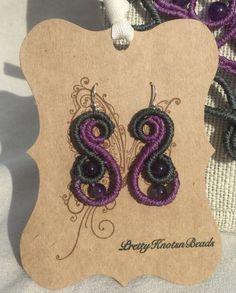 Amethyst Gemstone Macrame Earrings by PrettyKnotsnBeads on Etsy