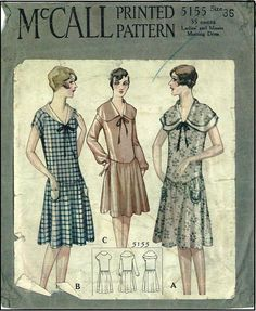 1920s Ladies Frock Sewing Pattern - McCall 5155