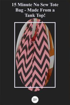 DIY No Sew Tote Bag Idea - made from a tank top! #nosew #nosewtotebag #upcycletanktop #upcycle #diytotebag #diynosewtotebagidea