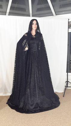 Black lace Kaap, bonte mantel, gotische bruiloft Kaap, fantasie lace Kaap, op maat gemaakte