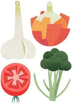 Food illustrations by Japanese illustrator Ryo Takemasa.
