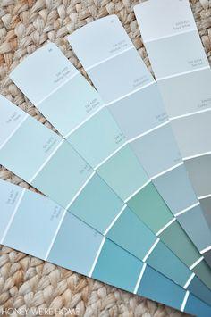 Choosing greyish/greenish/blueish paint color for interior decor | Sherwin Williams Dewy, Fleeting Green, Sea Salt Watery, Rainwashed, Comfort Grey