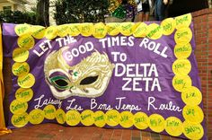 """not a banner that looks this but i love """"let the good times roll to pi beta phi"""" . love the idea of having multiple banners"""
