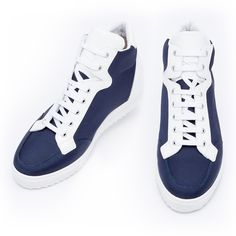 Elevator Sneakers - Upper in blue navy technical fabric and shiny white calfskin, insole in genuine leather, lightweight high quality rubber outsole anti-slip. Hand Made in Italy.