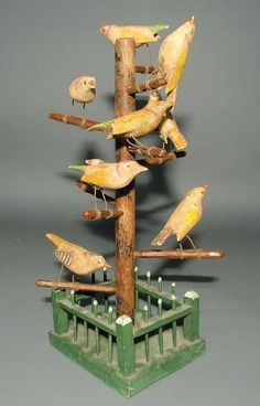 132: Continental folk art carved bird tree, late 19th c : Lot 132
